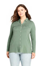 Women's Plus Size Long Sleeve Button Down Tunic