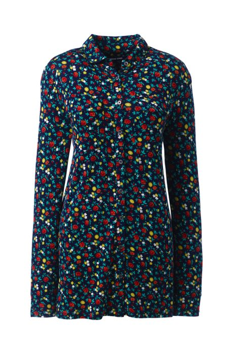 Women's Plus Size Long Sleeve Printed Button Down Tunic