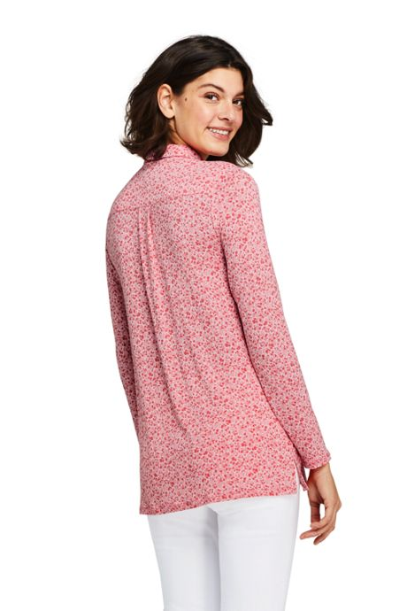 Women's Tall Long Sleeve Printed Button Down Tunic
