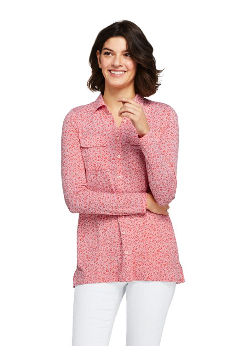 Women's Long Sleeve Printed Button Down Tunic