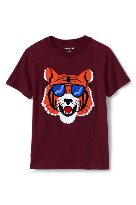 Boys Husky Applique Graphic T Shirt