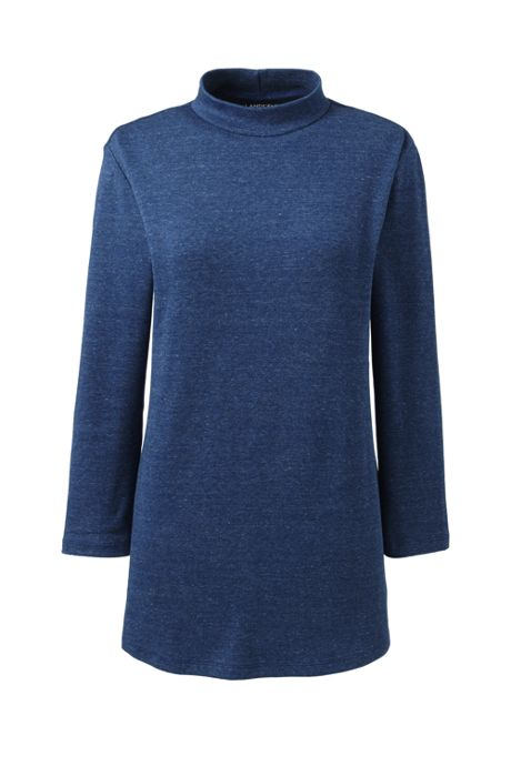 Women's Plus Size 3/4 Sleeve Mock Neck Tunic