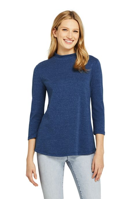 Women's Petite 3/4 Sleeve Mock Neck Tunic