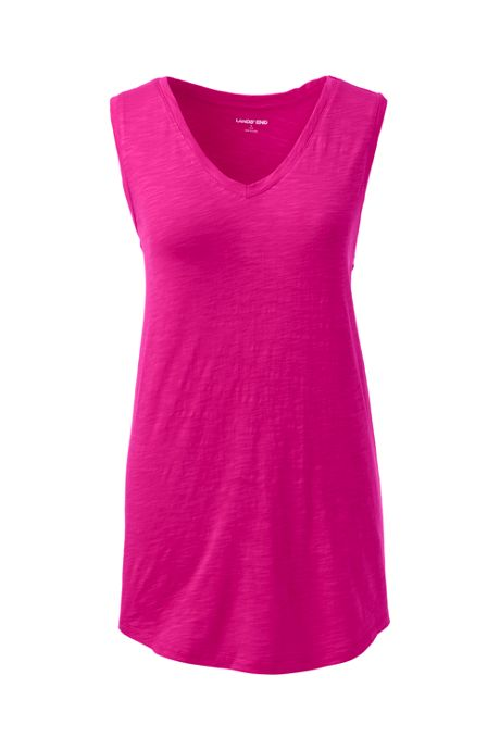 Women's Petite Slub Jersey V-neck Tank Top