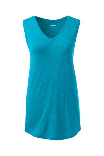 Women's Petite Slub Jersey V-neck Sleeveless Top