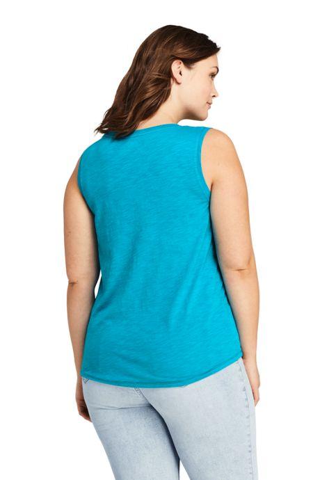 Women's Plus Size Slub Jersey V-neck Tank Top