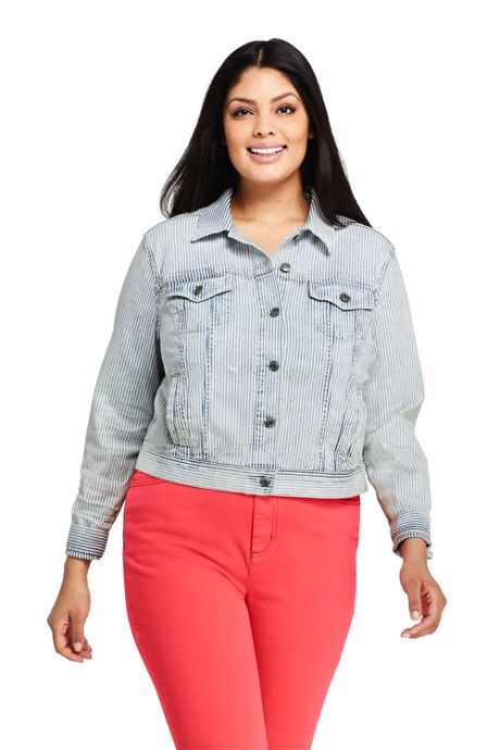 Women's Plus Size Denim Stripe Jacket