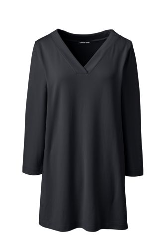 Women's Plus Size 3/4 Sleeve Matte Jersey V Neck Tunic by Lands' End
