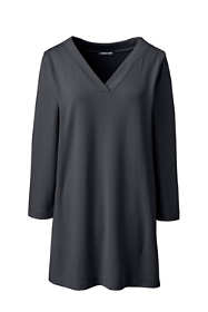 Women's Plus Size 3/4 Sleeve Matte Jersey V-neck Tunic