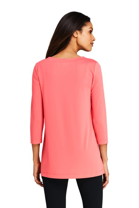 Women's 3/4 Sleeve Matte Jersey V-neck Tunic
