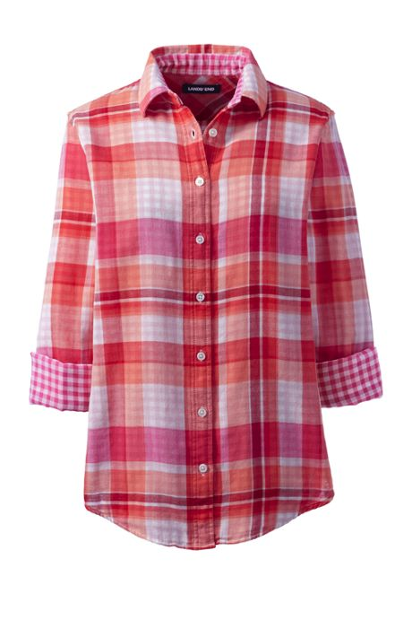 Women's Petite Double Cloth Pattern Shirt