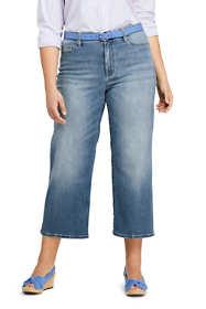 Women's Plus Size Mid Rise Wide Leg Crop Jeans