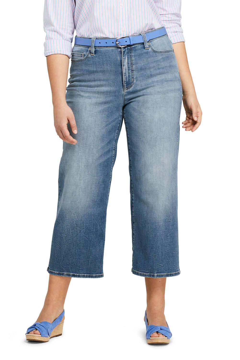 5435a2ead93 Women s Plus Size Mid Rise Wide Leg Crop Jeans from Lands  End