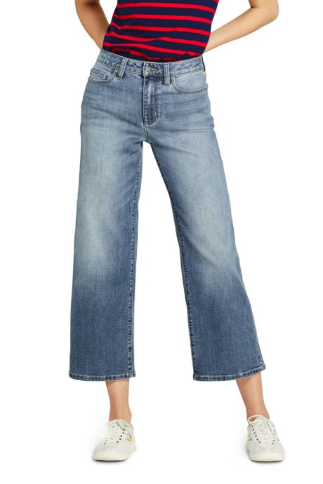Women's Mid Rise Wide Leg Crop Jeans