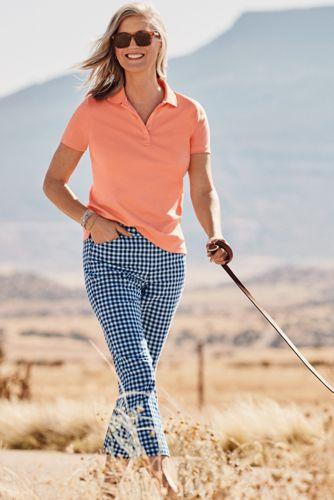 Polo en Coton Supima à Manches Courtes, Femme Grande Taille
