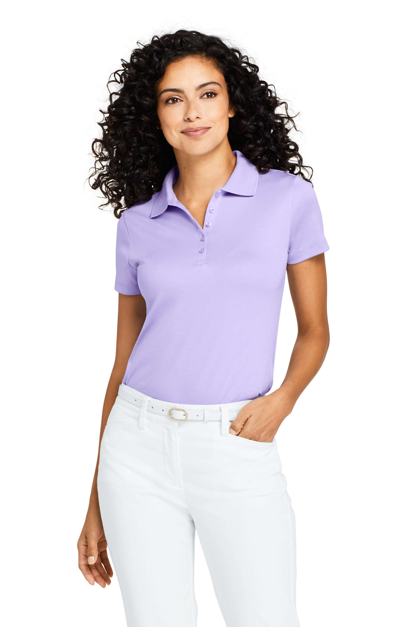 School Uniform Women's Long Sleeve Feminine Fit Interlock Polo Shirt