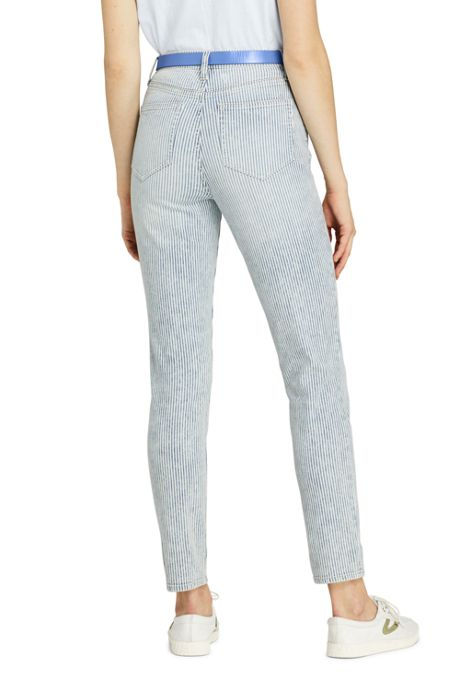 Women's Petite High Rise Slim Leg Ankle Jeans - Stripe