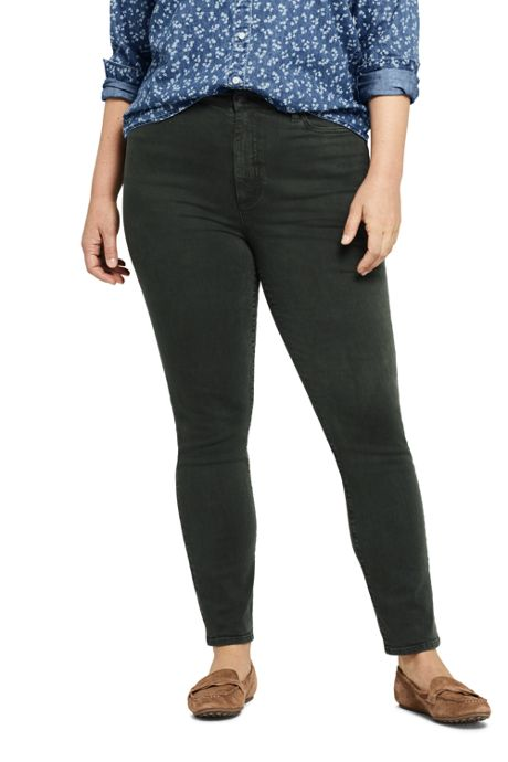 Women's Plus Size High Rise Slim Straight Leg Ankle Jeans - Color