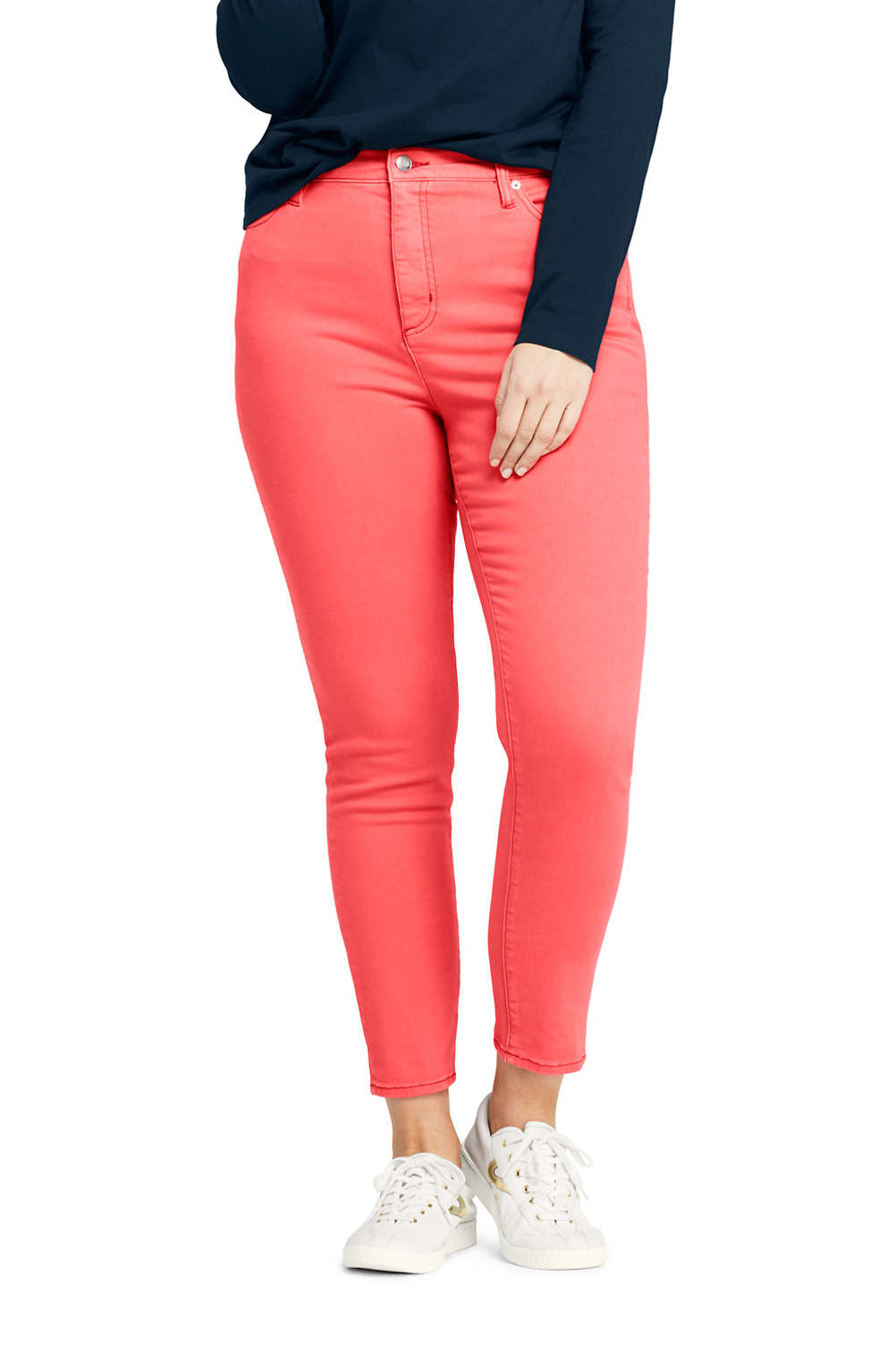 e023cad408f Women s Plus Size High Rise Slim Leg Ankle Jeans from Lands  End