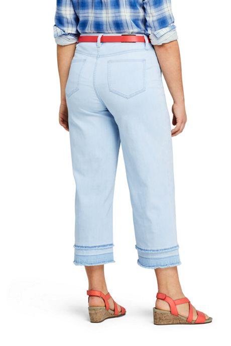 Women's Plus Size Mid Rise Fringe Hem Wide Leg Crop Jeans