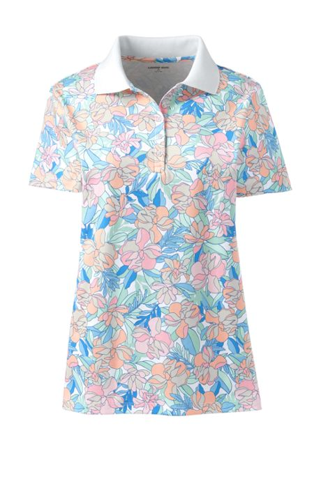 Women's Tall Supima Cotton Short Sleeve Polo Shirt Print