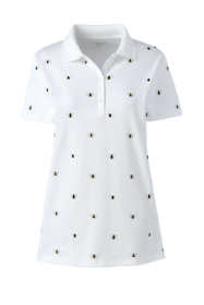 Women's Petite Supima Cotton Short Sleeve Polo Shirt Print
