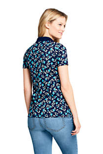 Women's Supima Cotton Short Sleeve Polo Shirt Print, Back