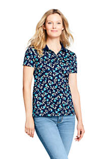 Women's Supima Cotton Short Sleeve Polo Shirt Print, Front