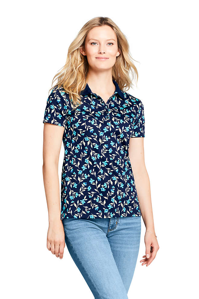 Women's Tall Supima Cotton Short Sleeve Polo Shirt Print, Front