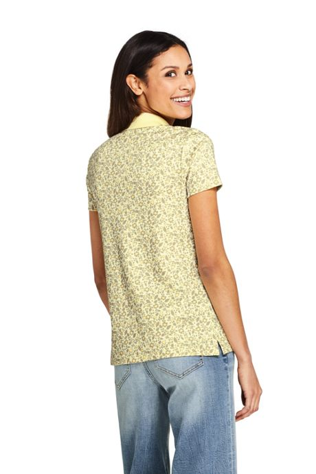 Women's Petite Print Supima Cotton Polo Shirt Short Sleeve