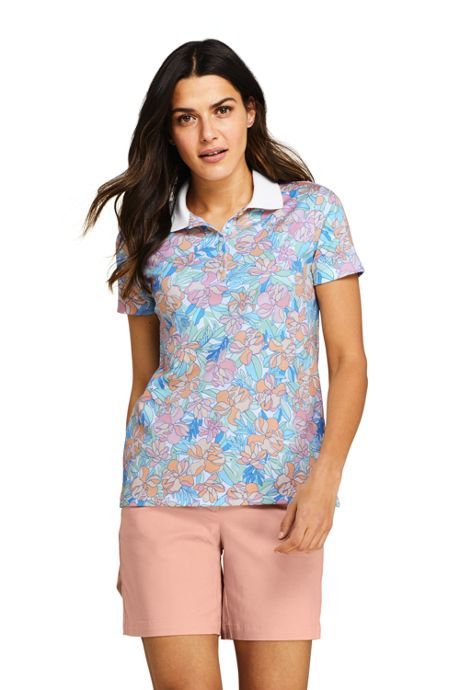 Women's Print Supima Cotton Polo Shirt Short Sleeve