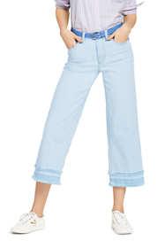 Women's Petite Mid Rise Fringe Hem Wide Leg Crop Jeans