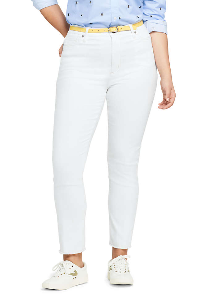 Women's Plus Size High Rise Slim Straight Leg Ankle Jeans, Front