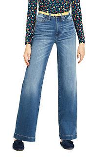 Taillenhohe Jeans mit weiten Beinen in Indigo für Damen