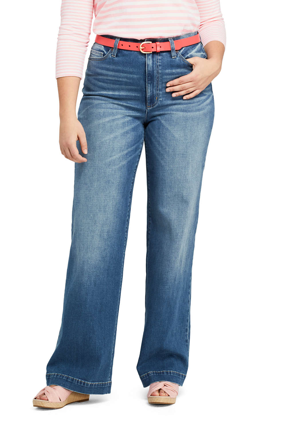 b1943abc31 Women s Plus Size High Rise Wide Leg Jeans from Lands  End