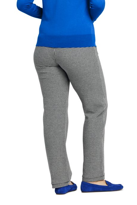 Women's Plus Size Petite High Rise Sport Knit Pants - Gingham