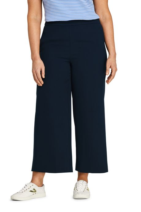Women's Plus Size Crepe Pull On Crop Pants