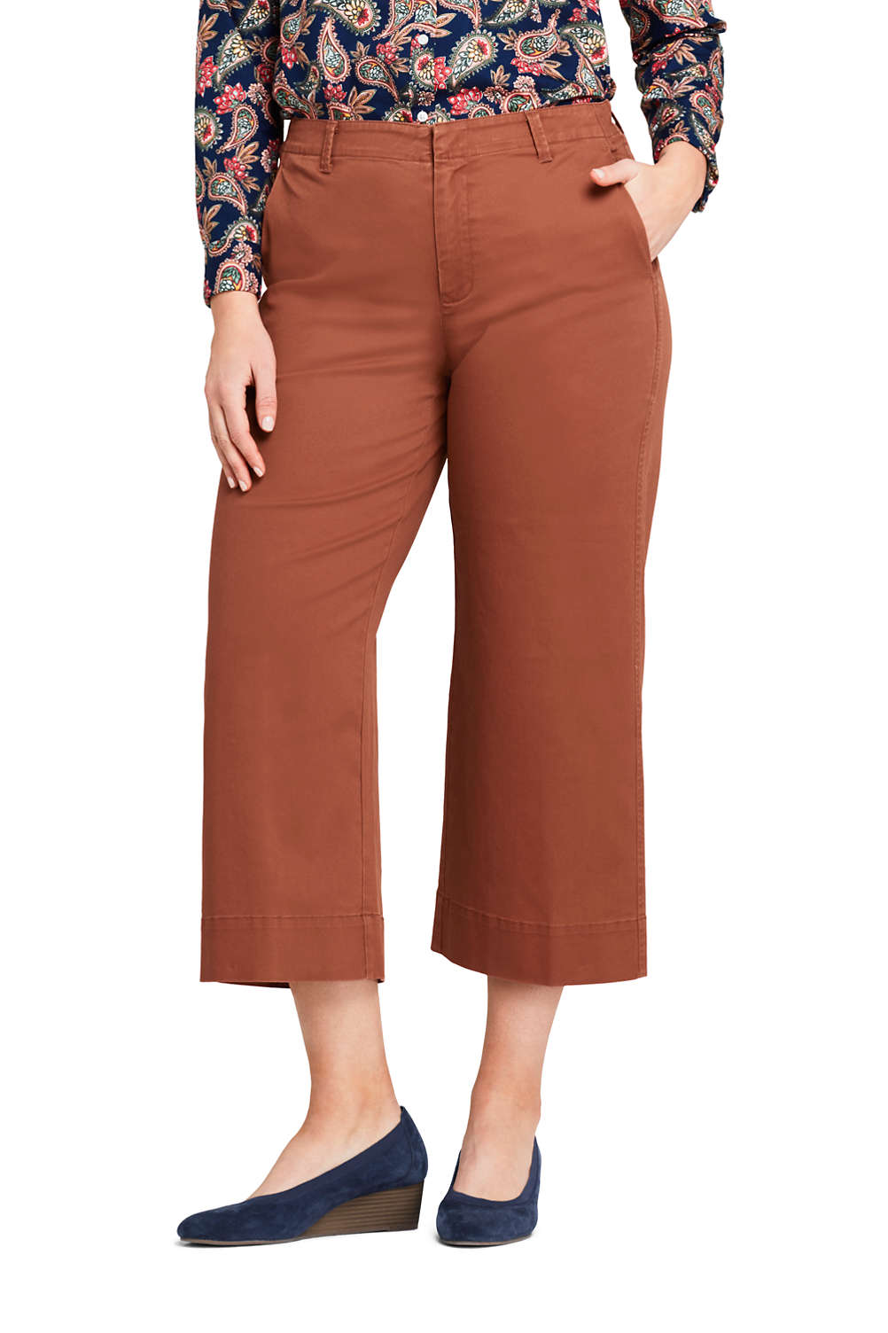 ad16b63ba9fe Women s Plus Size Mid Rise Chino Wide Leg Crop Pants from Lands  End