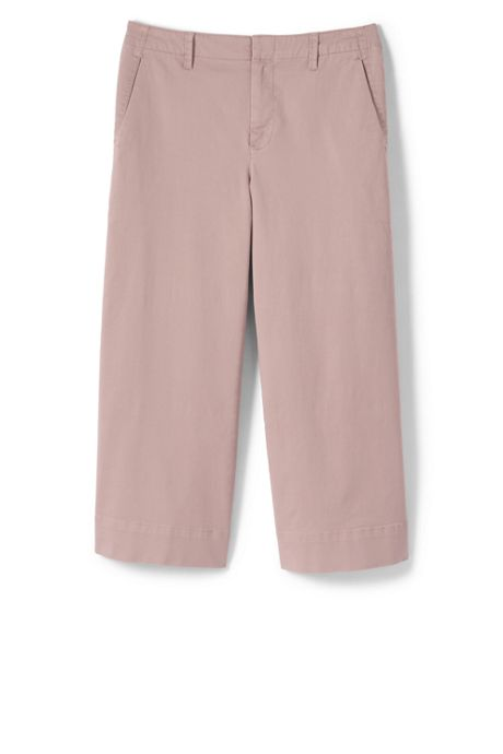 Women's Plus Size Mid Rise Chino Wide Leg Crop Pants