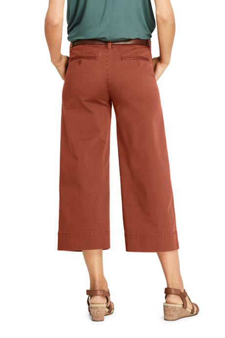 Women's Petite Mid Rise Chino Wide Leg Crop Pants