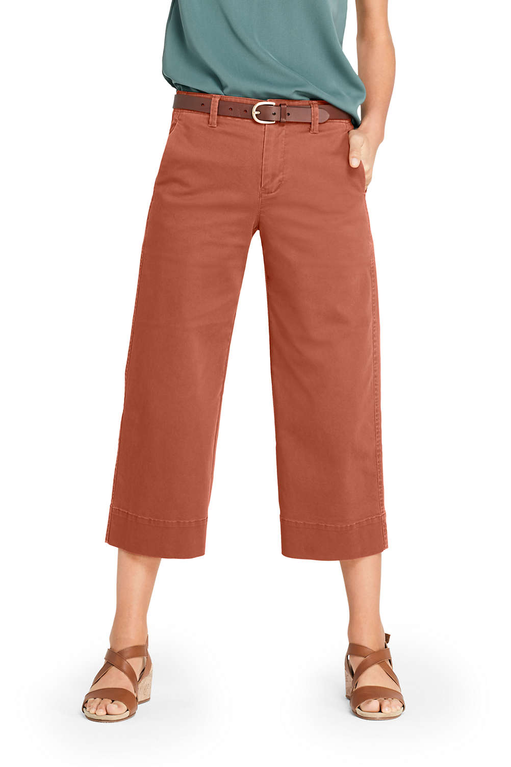 b8dcd4179fbc Women's Mid Rise Chino Wide Leg Crop Pants from Lands' End