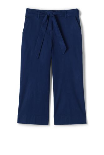 Women's Tie Waist Stretch Linen Mix Crop Trousers