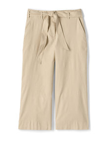 Women's Tie Waist Stretch Linen Mix Crop Trousers