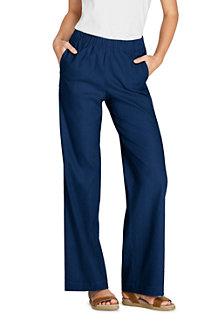 Women's Wide Leg Stretch Linen Mix Trousers