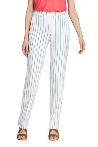 Women's Striped Stretch Linen Mix Trousers