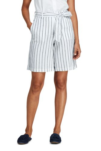 Women's Striped Tie Waist Stretch Linen Mix Shorts