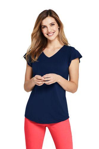 T-Shirt Col V avec Smocks, Femme Stature Standard
