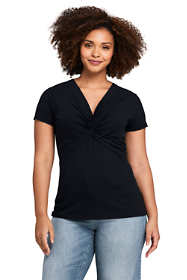 Women's Plus Size Short Sleeve V-Neck Twist Knot Top