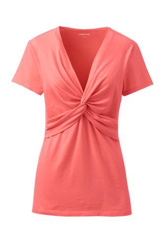 Shirt mit V-Ausschnitt aus Baumwoll/Modalmix für Damen in Plus-Größe