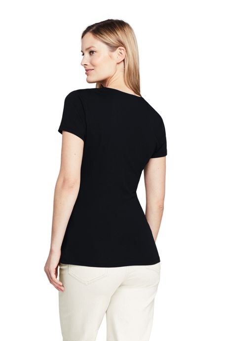 Women's Petite Short Sleeve V-Neck Twist Knot Top